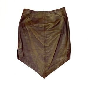 Cache Shining Brown Leather Skirt